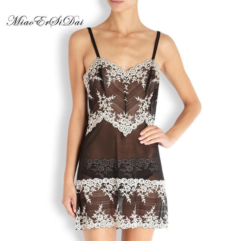 Miaoersidai Sexy Mesh Dress Dress Dress Flower Embroidery Nightdress Morbido Comfortable Femmina Nightie Lingerie di alta qualità S M L RJJKU
