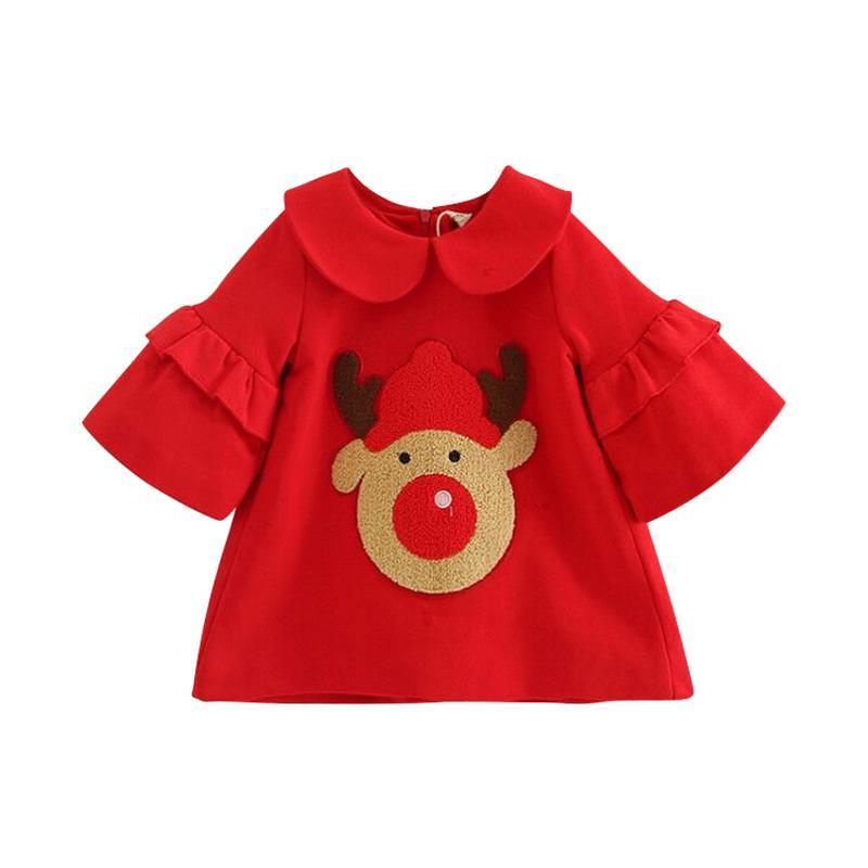 Les enfants portent la petite robe d'année de bébé d'hiver, petite robe d'année rouge elk peluche 100% coton robe fille jolie jupe princesse mignonne
