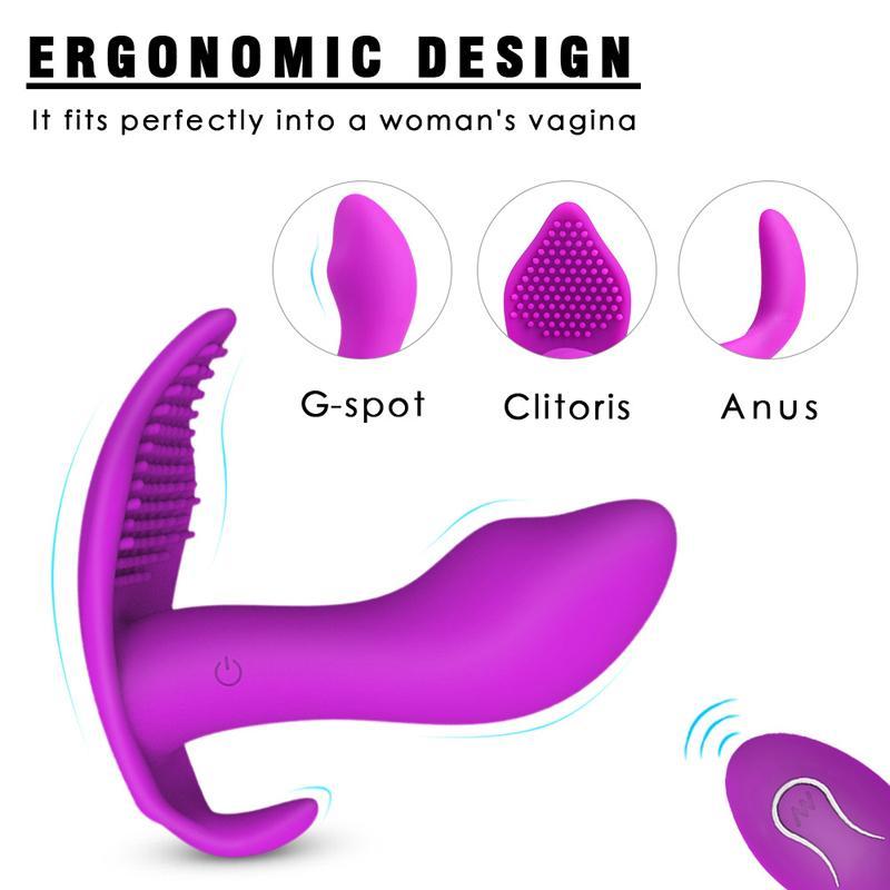 Vibromasseur sans fil Panies portables Dildo Adulte Sex Toys pour femme USB Rechargeable G-Spot Stimulateur Stimulateur de silicone Papillon Vibrateur Y20061 QVIC