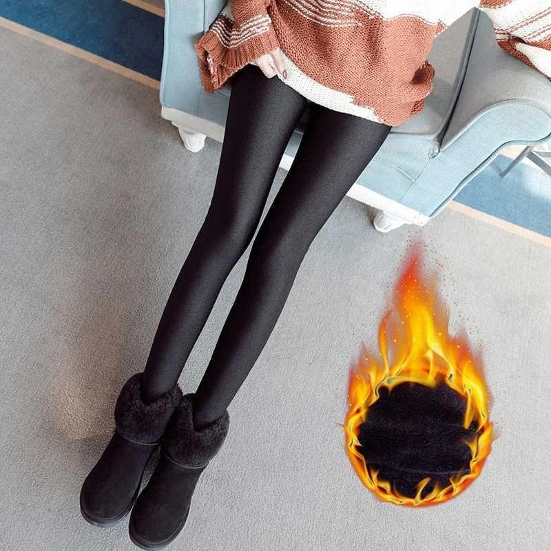 New Autumn Plus Velvet Legging Seamless Ball Velvet High Waist One Piece Pants Step on the Foot Pants Holiday Gift gcsJ#