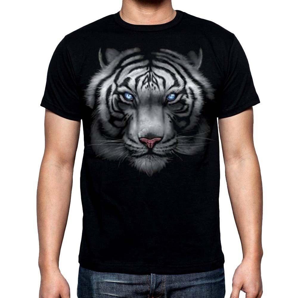 Tigre Blanco Negro camiseta de los nuevos hombres de la cara llena salvaje animal de la fauna Camiseta gráfica