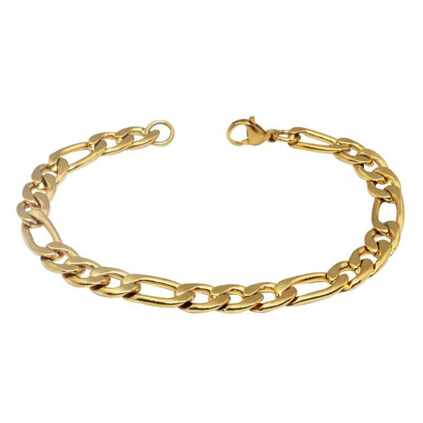 Gold Chains Bracelet For Men 9 inch Hot Sale Titanium Steel Link Chain Bracelets 22cm Fashion Jewelry wholesale Free Shipping - 0924WH