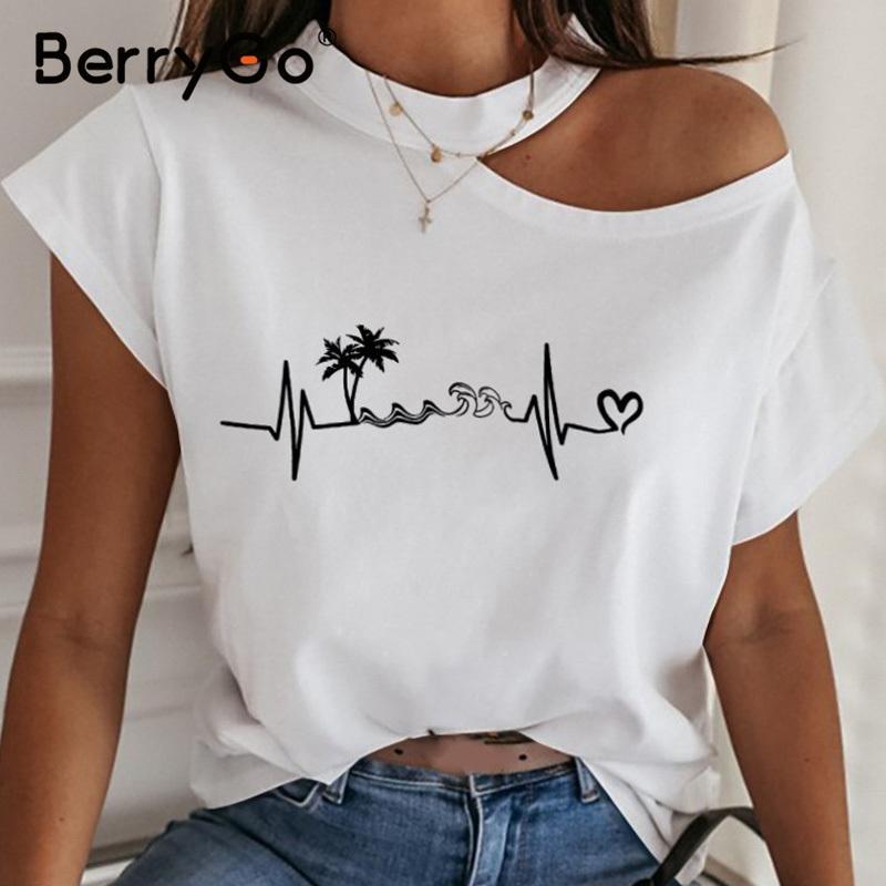 BerryGo casual manica corta donne t-shirt senza bretelle sexy Primavera estate maglietta irregolare signore sottile Halter parte superiore della maglietta