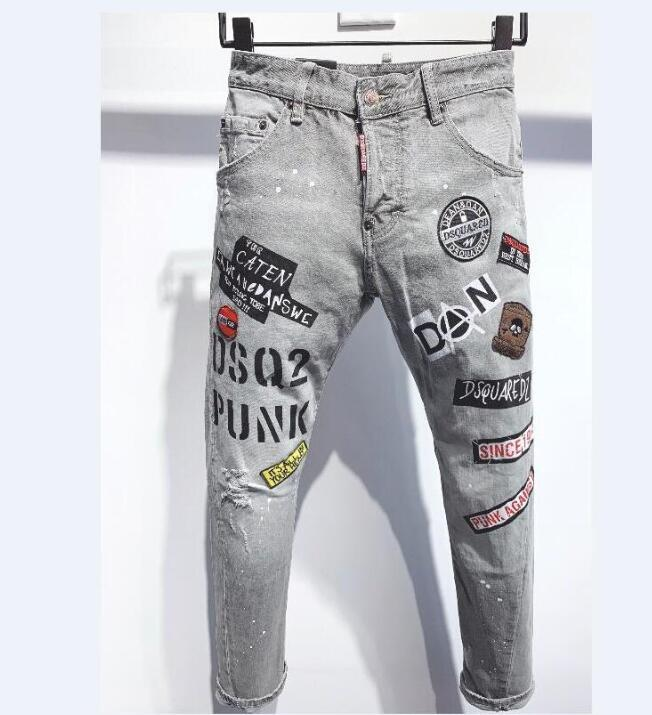 HOT Francês estilo afligido rasgado Biker Jeans Slim Fit Motociclista Denim For Men Fashion Designer Hip Hop Mens Jeans Qualidade