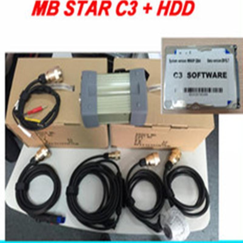 Boa qualidade MB Estrela C3 SD Ligue mb suportes c3 12V carros com HDD Auto Diagnostic Scanner