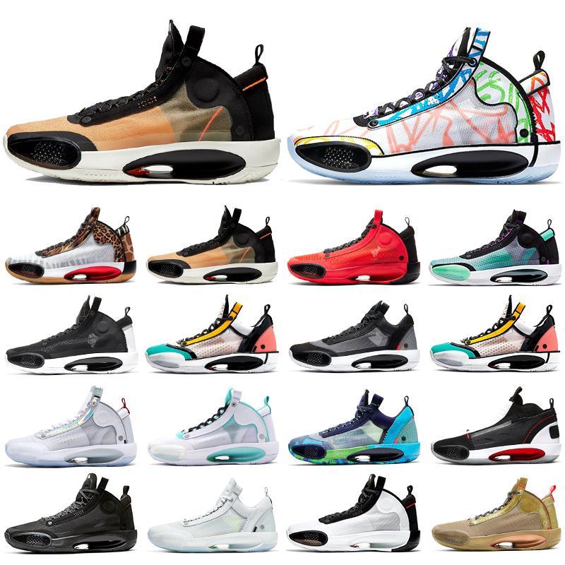 2020 Hommes Jumpman 34 chaussures de basket-ball 34s Orbit rouge infrarouge 23 Snow Leopard blanc irisé Heritage Eclipse Bred hommes CNY baskets de sport