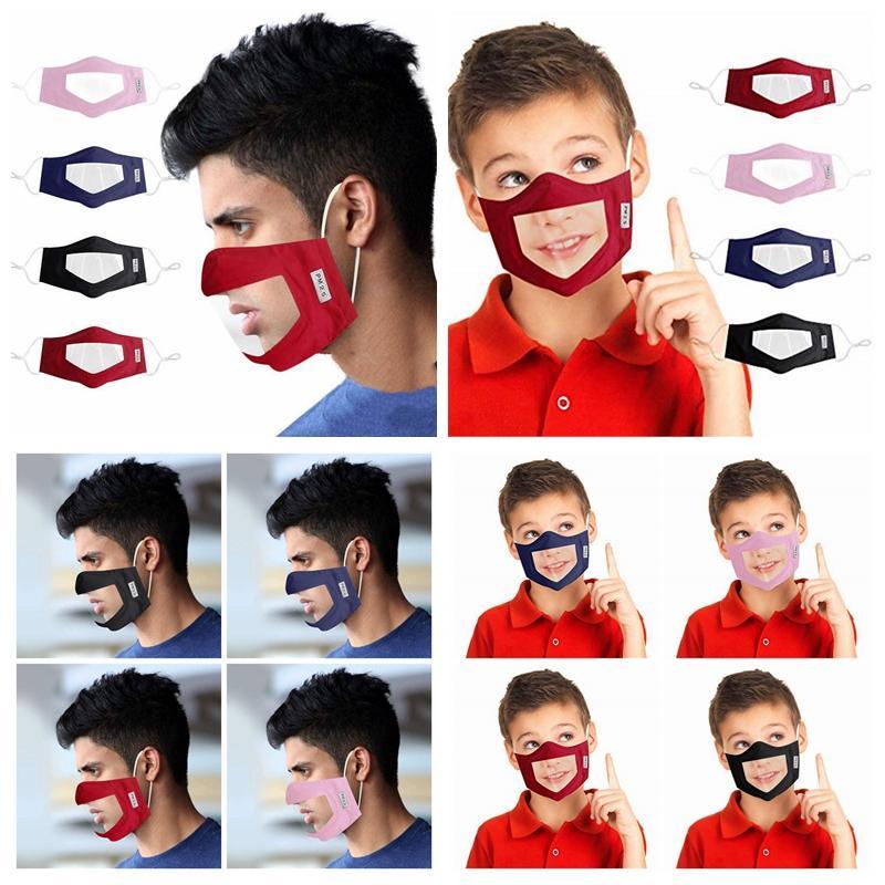 Surdo-mudo Transparent Face Mask lavável reutilizáveis Máscaras Anti Poeira Antifog Earloop Limpar RRA3313 Designer Máscaras 8styles