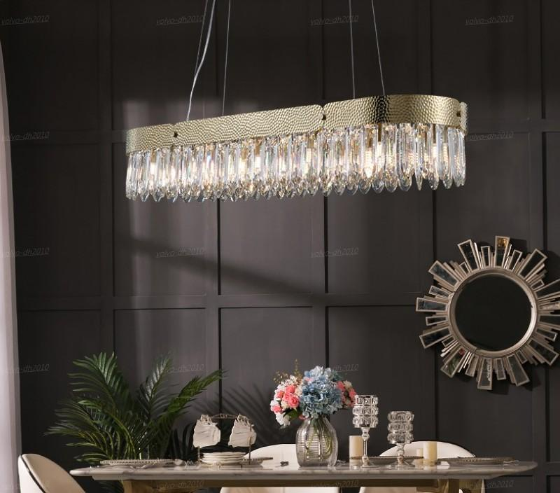 Ristorante in cristallo oro ovale lampade a sospensione salotto lampadario in acciaio inox villa di lusso villa europea isola soggiorno sala da pranzo lampade decorative luci