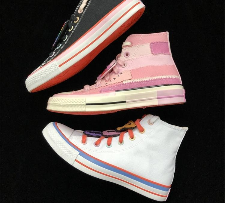 Be You Millie Bobby Brown MBB 1970 All Star Chuck Collaboration Chaussures Hommes Femmes arc-en-couture Nom d'articulation femmes coeur de pêche kBXJ #