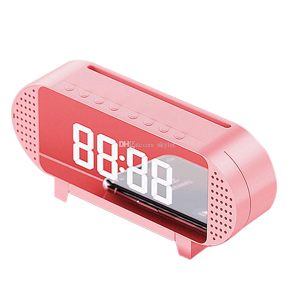 A19 Mirror Alarm Clock With Bluetooth Speaker FM Radio Phone Holder Dimmable LED Display Portable Speaker