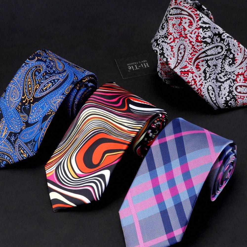 Привет-Tie 40 стилей Ties для мужчин Свадьба Business Party лета жаккардовые Gravatas шелковых галстуков 8.5cm Мужская мода 2018 Corbatas SADB #