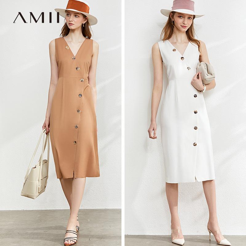 Amii Printemps Eté Solid Slim Vneck Robe sans manches femmes causales longueur genou Botton Robe 12040157
