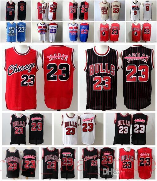 Mens College-23 Michael MJ Retro Grün Schwarz Rot Weiß JerseyChicagoBulls Michael MJ Basketball Mesh-Vintage-Trikots