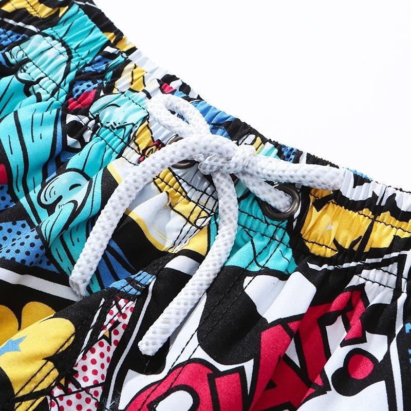 Plaj erkekler çabuk kuruyan Plaj pantolon ve büyük boy gevşek çiçek şort beş puanlık boxer yüzme pantolon şort