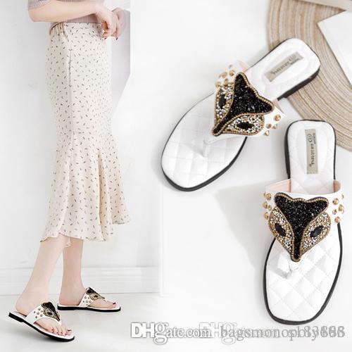 2019 progettista infradito sandali estivi Fox ultime scarpe stile testa strass Slip-on scivoli donna del design larghi pistoni piani
