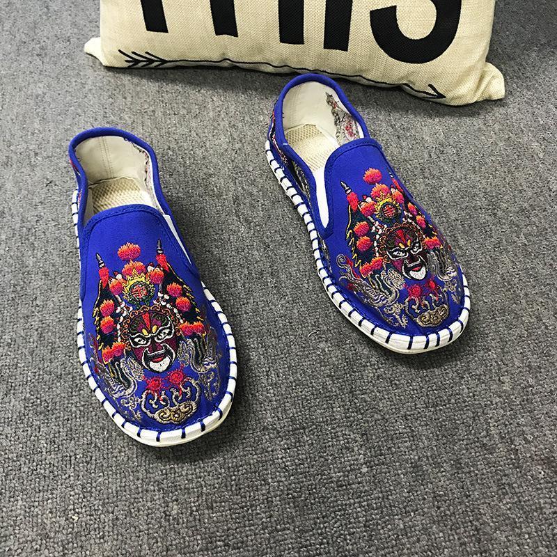 Mode Hommes Femme Toile Broder Chaussures plates Femmes Homme Toile Harajuku Espadrilles Mocassins léger dur port en caoutchouc bnxz-09