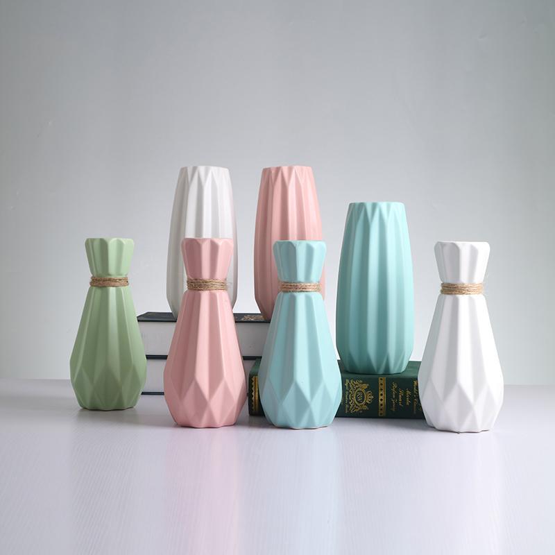 Europa Matt Einfache Keramik Vase Wohnkultur Porzellan glasiert Seil Blumenvase Hochzeit nach Hause Dekoration Keramik Blumenvase