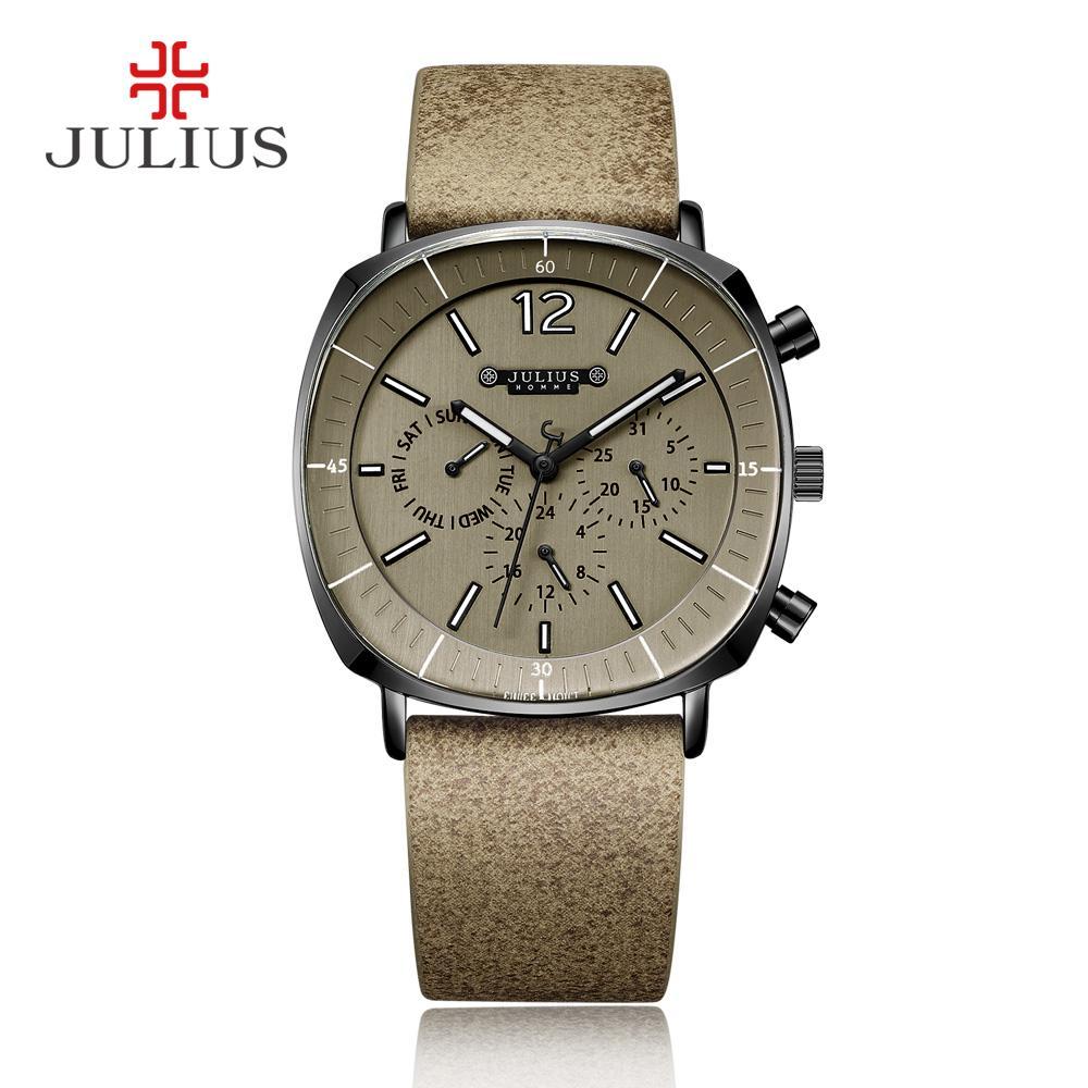 ЮЛИЙ Real Хронограф Мужские часы Бизнес 3 Циферблаты Кожаный ремешок Квадратное лицо Кварцевые наручные часы высокого качества подарков Джа-098