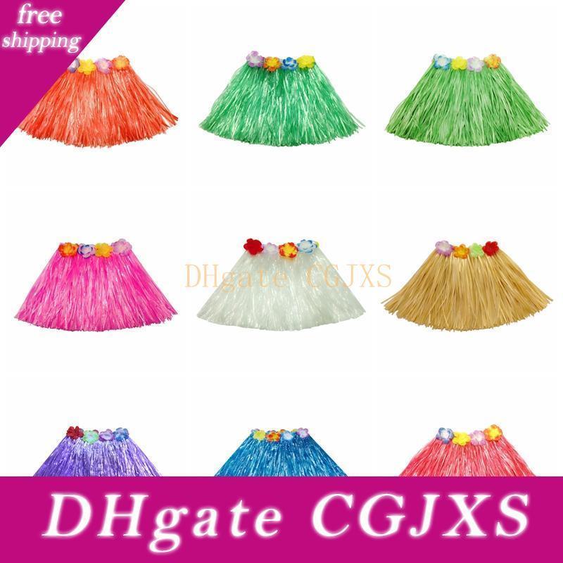 30cm elástica hierba bailarina de hula hawaiano falda hawaiana Grass faldas para los niños tropical Falda de una sola capa festiva de fiesta