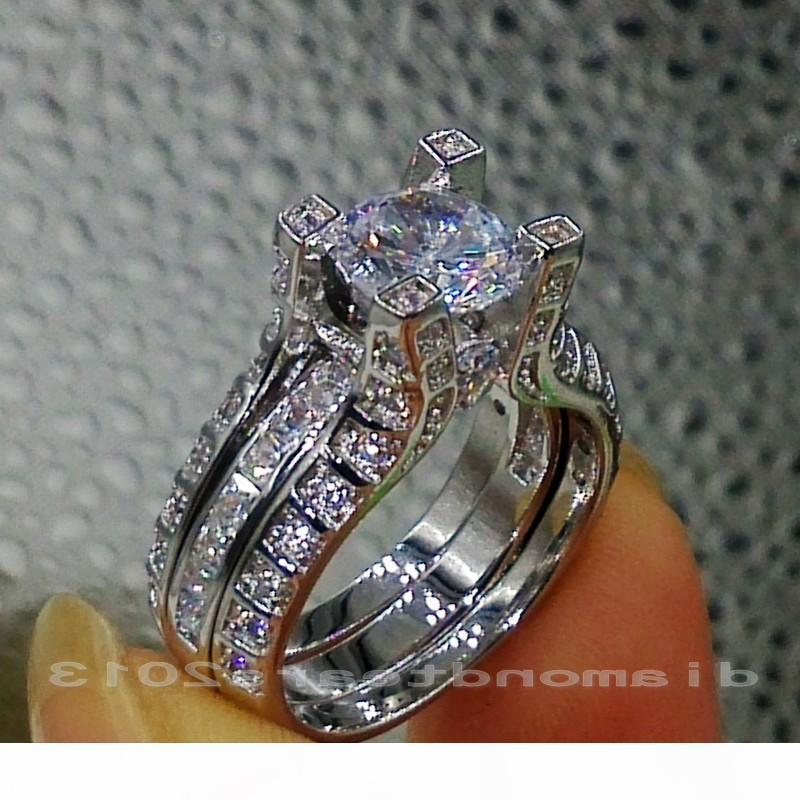 J Sz 5 6 7 8 9 10 10kt oro bianco Retro trasporto del commercio all'ingrosso Riempito Gf Topazio bianco Gemma diamante simulato anello di fidanzamento Wedding Set