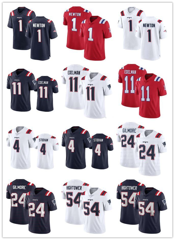 2020 Homens 1 Cam Newton 11 Julian Edelman Jarrett Stidham Dont'a Hightower Gilmore McCourty NovaInglaterraPatriotas camisas de futebol