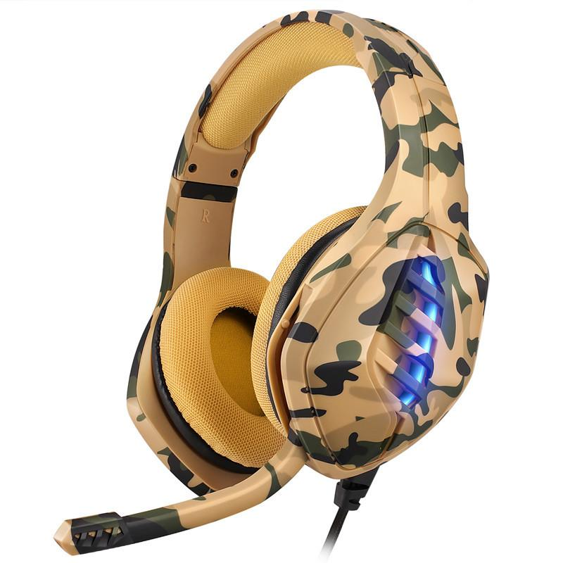Camuflagem PS4 Gaming Headset Wired Deep Bass Headphones Luminous Casque com microfone para Laptop PC Gamer fone de ouvido