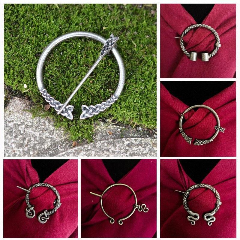 11 Estilos de 3 colores de Viking de la vendimia Escudo Pin medieval nórdica accesorios broche de cinturón bufanda hebilla Capa prendedores joyería para las mujeres de los hombres # jMig