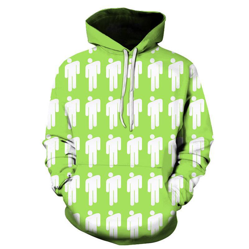 Billie Eilish 3D-Druck Hoodies Sweatshirt Frauen Männer Mode-Buchstabe gedrucktes PulloverHoodies Herbst-Winter-Trainingsanzug Weibliche Hoody