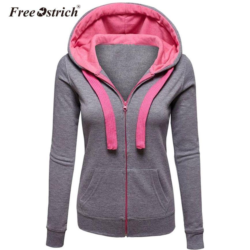 Freie Strauß Hoodies die warme Winter-Sweatshirt Frauen Taschen-Zipper lange Hülsen-dünne Plus Size harajuku sudadera mujer S40 T200725