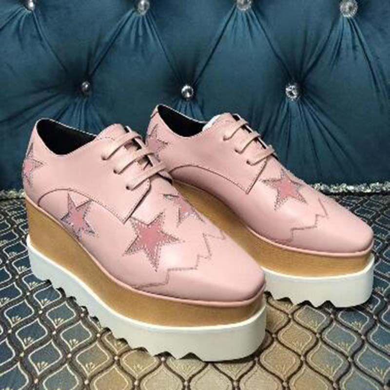 Mode Chaussures Casual modèle Flats étoile semelle épaisse Chaussures de marche en cuir plein air Robe Daily Party sandales en liège Chaussures de sport blanc rose XC5