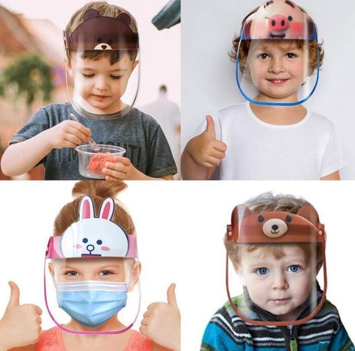 Cartoon Photos anti-buée sécurité Bouclier visage enfant 16 couleurs Transparent Anti-crachement Splash PET réutilisable de protection Masque Visage