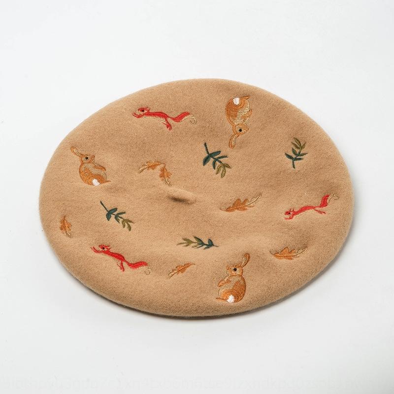 Популярные кролики белка вышивка шерсть Художник берета художник шляпа женщины вскользь все-матч берет