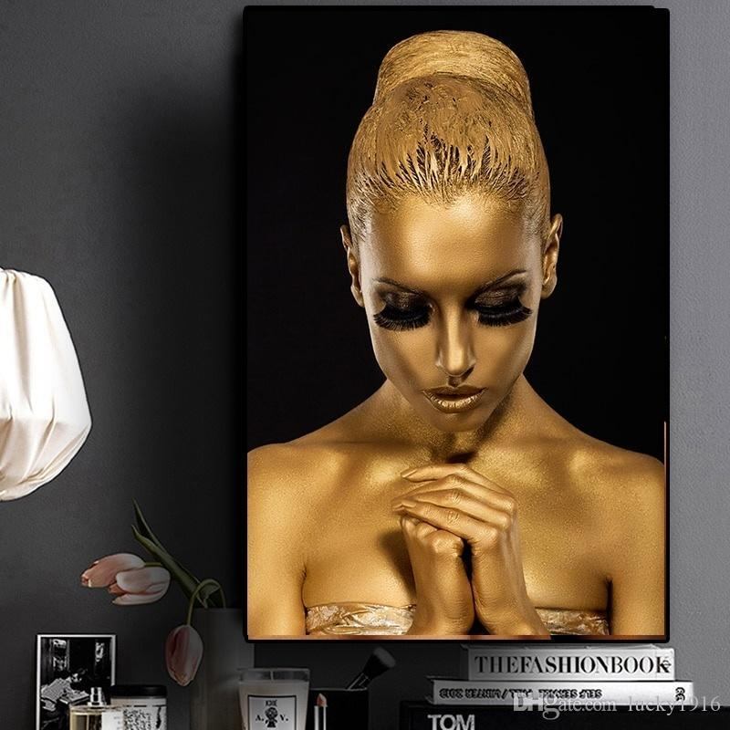 Black Gold Nude Art African Woman Portrait Oil Painting Posters and Prints Modern Wall Picture for Living Room Cuadros Decoracion