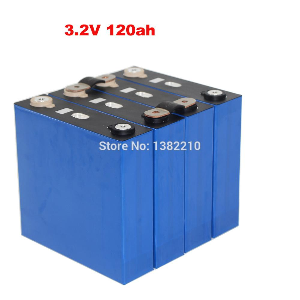 4PCS/lot High Quality LiFePO4 3.2V 120Ah 2C 240A Continuous Discharge For 12V Solar Energy Storage Battery Pack with BUS BARS