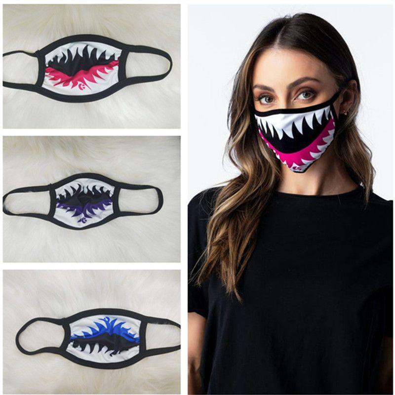 Le donne devono affrontare Fashion Mask Shark Stampa maschere antipolvere antivento viso piacere bocca muffola morbida lavabile traspirante durevole Maschera per il viso