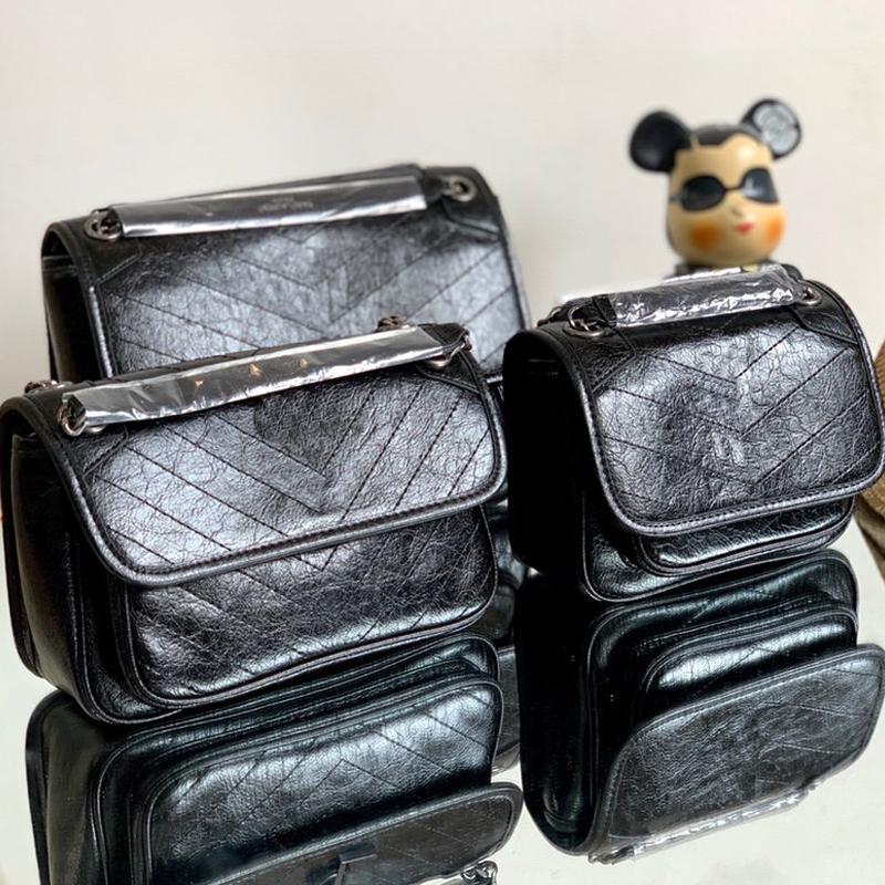 여성 메신저 가방 체인 크로스 바디 가방 패션 고품질 작은 소 가죽 정품 가죽 우체부 가방 스레드 문자 기호 무료 배송