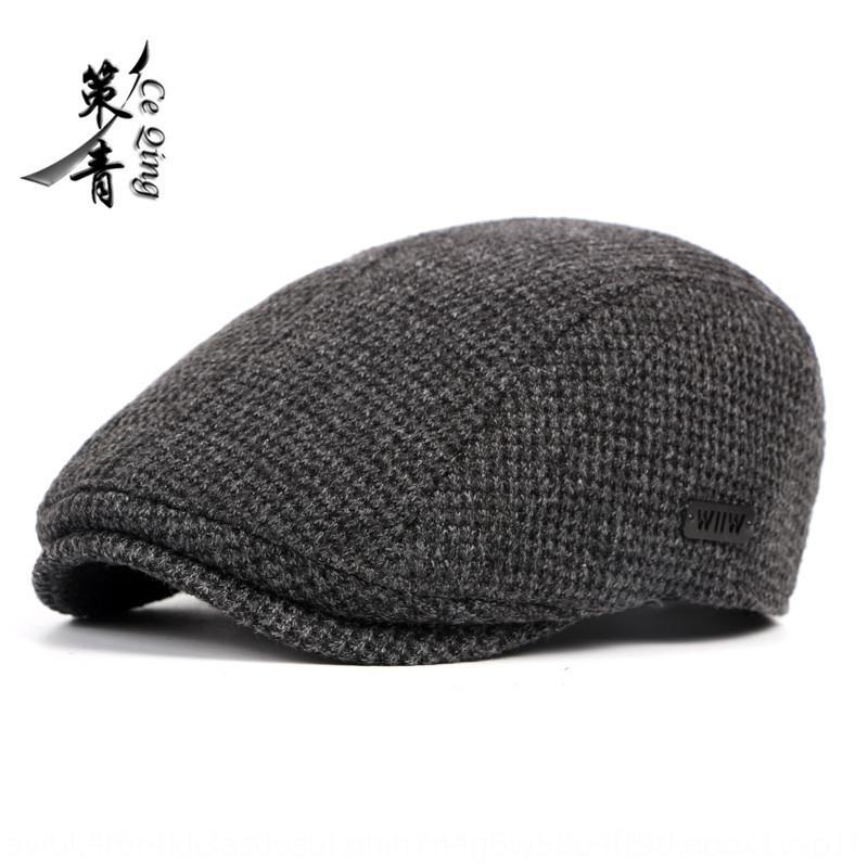 1XuVs estilo británico de la boina gorro puntiagudo de otoño caliente Corea del estilo de los hombres de la boina y el invierno cálido sombrero nuevo hacia adelante espesado de punto de los niños del sombrero