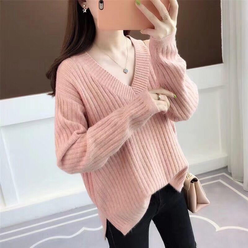 uPZDu la primavera y el otoño 2019 nueva venta caliente del suéter de manga larga de tocar fondo coreana V-cuello flojo de la mujer perezosa estilo hecho punto pul camisa superior mvTyn