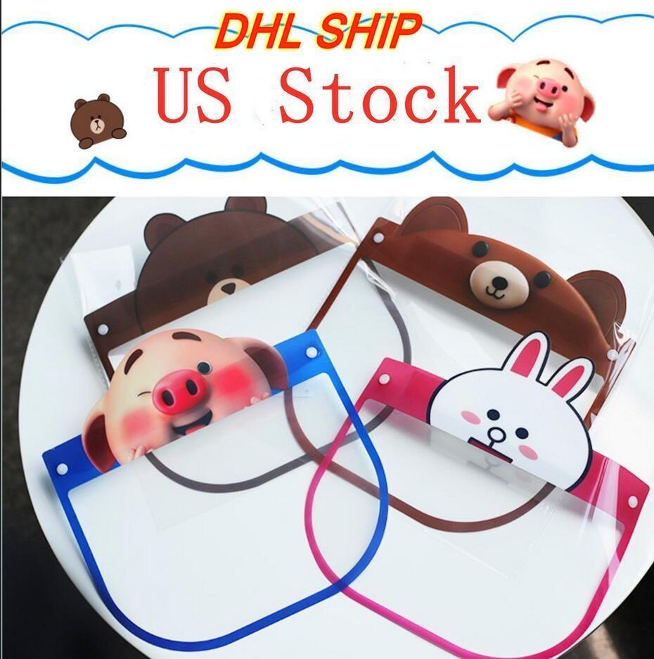 Stati Uniti Stock PET Bambini di protezione del lato Shield Cute Cartoon Full Face Isolamento maschera trasparente Anti-Fog Maschera Visor Protezione