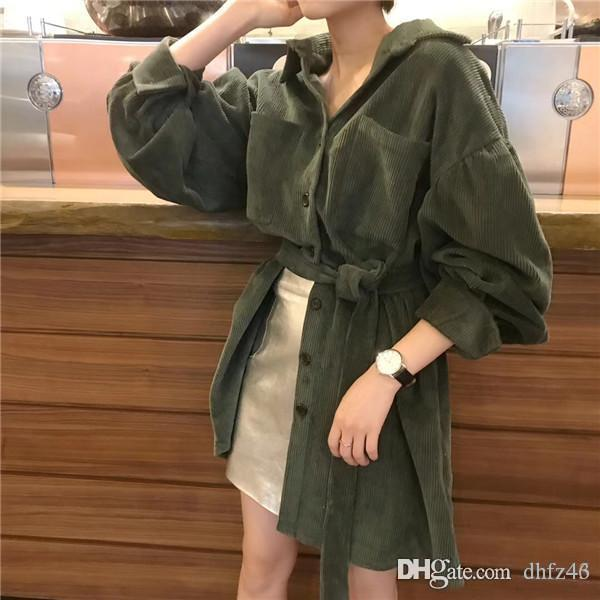 VICONE Corduroy dresses women to restore ancient ways the new paragraph loose bind temperament cardigan shirt Dress
