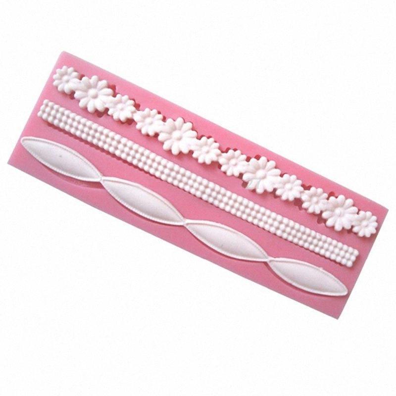 3D Lace Flower Bead Cadeia Silicone Fondant Mold bolo que decora Baking Moldes Sugar Cole Ferramentas YQN4 #