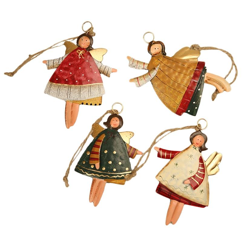 Regalos BMBY-Navidad que cuelgan del árbol de Navidad del partido chica del ángel del oso de Santa campanas decoración de la boda Adorno de metal colgantes de Navidad