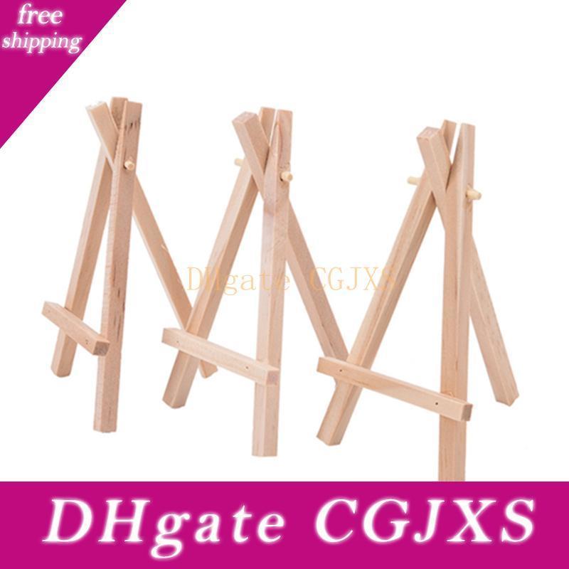 8x15cm de madera natural de mini trípode caballete Mini soporte de exhibición para la Junta de menú Holder lugar de la boda Nombre