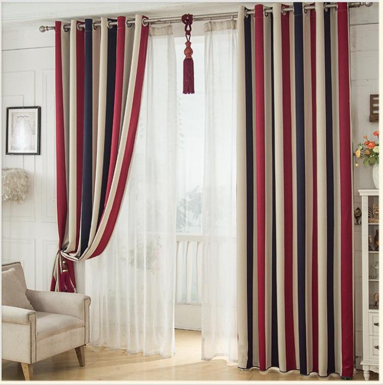 Шторы для гостиной Спальни Красного и синих вертикальных полосы ткани занавеса пастырского затенения Детской спальни Fabric