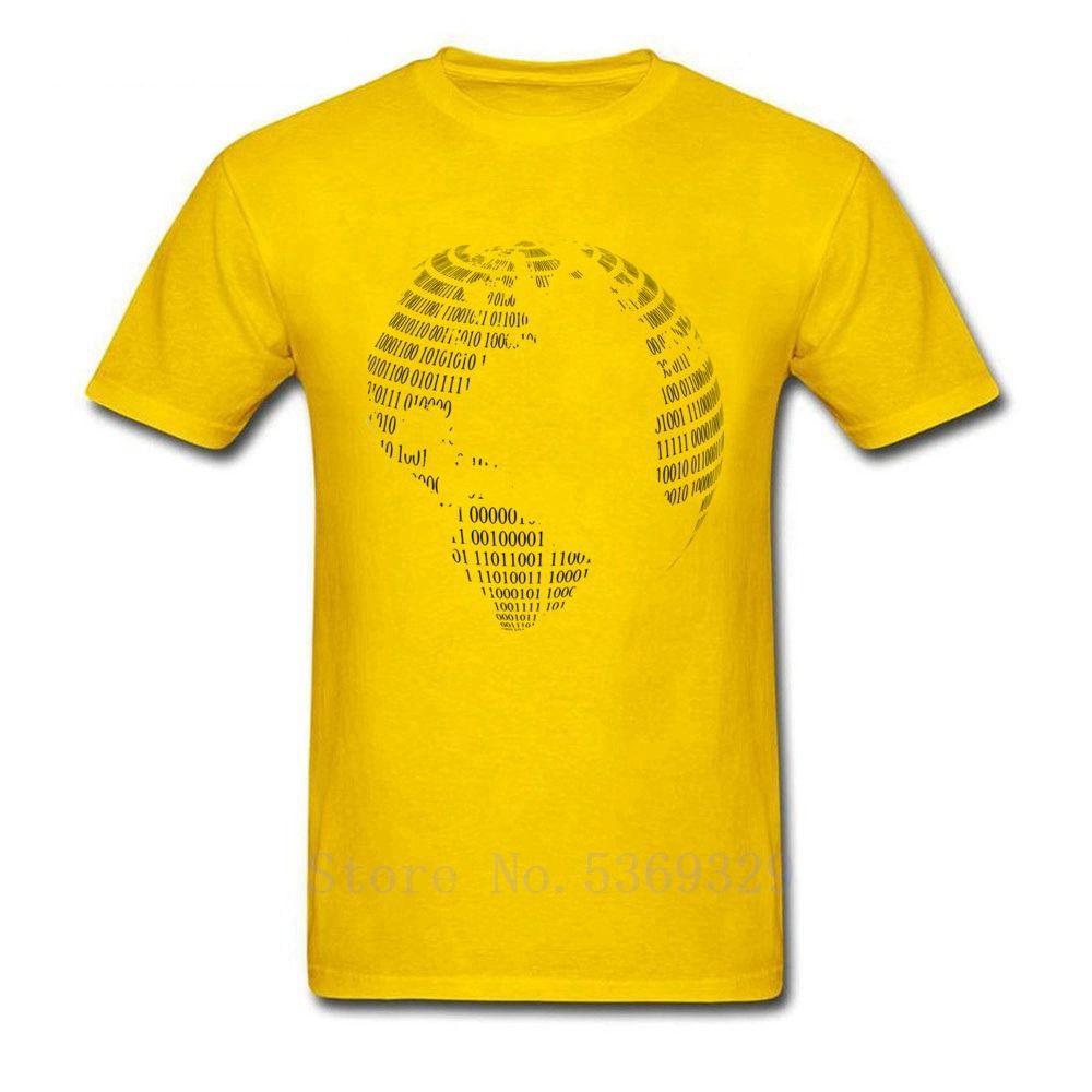 İkili Kod Bilgisayar Toprak Desen Erkekler Tişört Yaz / Sonbahar Ç Boyun% 100 Pamuk Rahat T Shirt Sarı Beyaz Deep Green