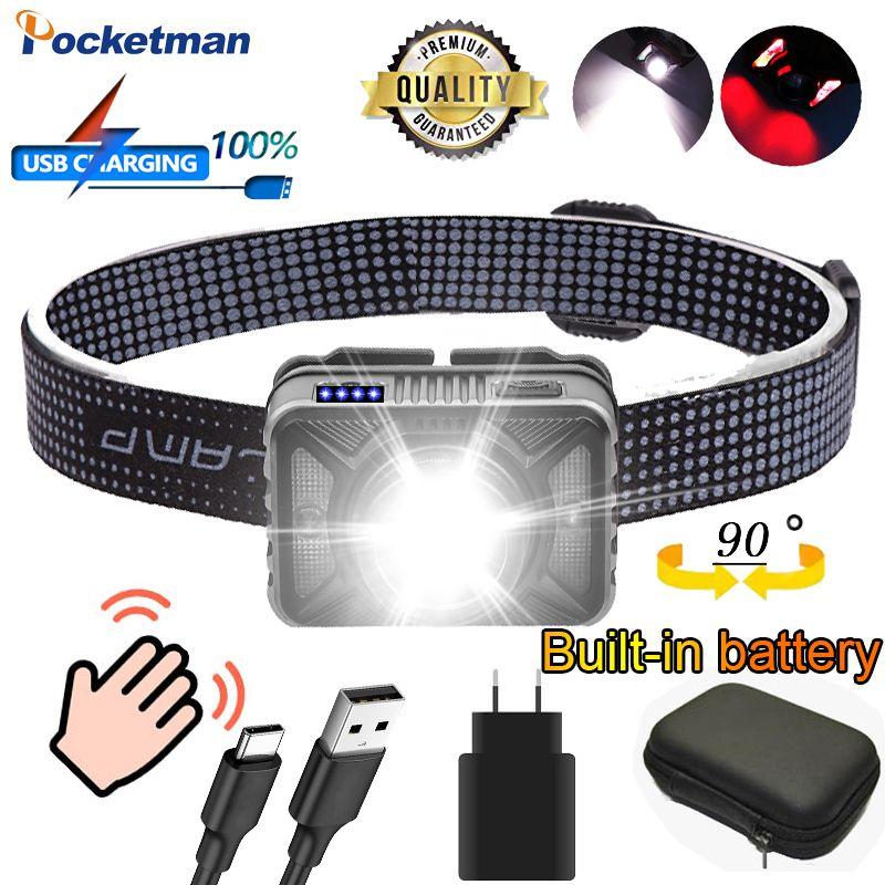 Super Powerful XHP50.2 Headlamp Rechargeable XPG COB yellow Red light LED Headlight Body Motion Sensor Head light Camping Torch