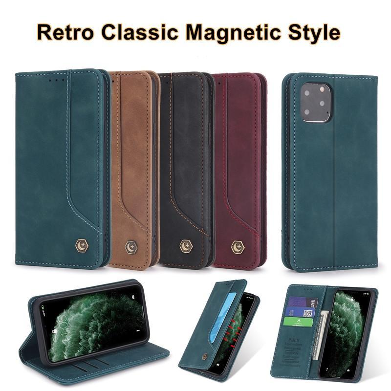 Samsung A51 A71 High Classic Magnetic PU кожаный кожаный корпус Flip Cover для iPhone 12 11 x 7 8 с слотом карты 4 цвета опционально