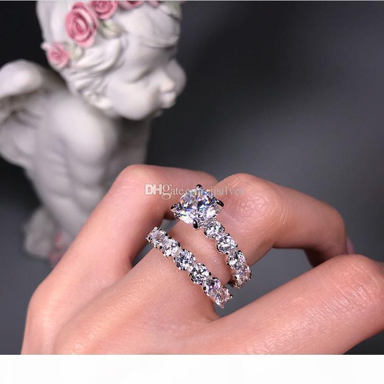 Pareja de ley anillo de bodas de plata para los amantes del color PLATA cristal de la CZ de los anillos del sistema completo Zirconia mujeres compromiso de la boda anillos de joyería fina