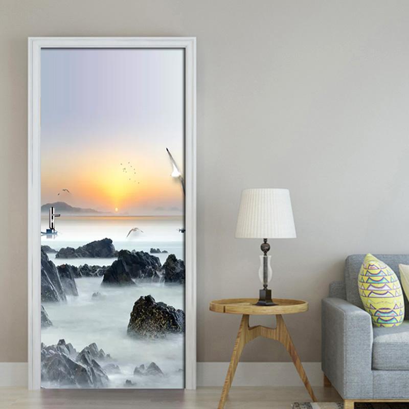 Sala Puerta Puerta stickerPVC autoadhesivo etiqueta engomada 3D del sol naciente de la tinta del paisaje DIY etiqueta de la pared para estar la puerta casera decoración de la pared 3D