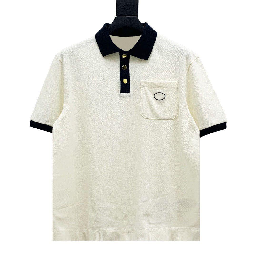 20SS Карман Вышивка логотипа POLO Tee с коротким рукавом дышащий футболки высокого качества способа Пара Mens женщин Кнопка поло HFXHTX350